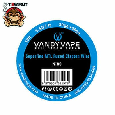 Superfine MTL Fused Clapton Wire Ni80 30ga + 38ga Vandy Vape