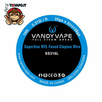 Superfine MTL Fused Clapton Wire SS316L 30ga x 2 + 38ga Vandy Vape